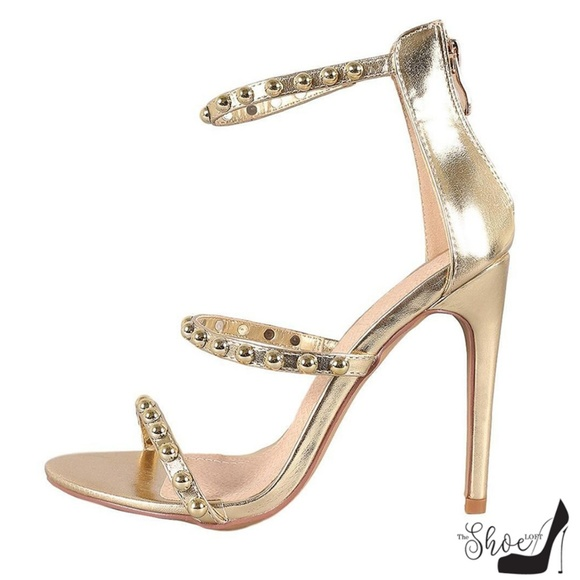 The Shoe Loft Shoes - Riley Gold Open Toe Studded Three Strap Heels